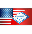 flag of usa and arkansas state vector image vector image