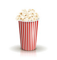 full white-and-red striped bucket of popcorn vector image vector image