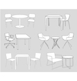 furniture tables and chairs sketch vector image vector image