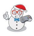 gamer snowman character cartoon style vector image