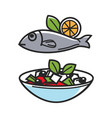 Greek traditional food for greece travel vector image