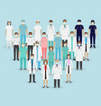 group doctors nurses and paramedics in masks vector image vector image