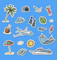 hand drawn summer travel elements stickers vector image