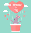 holiday rabbit in love travelling in air balloon vector image vector image