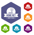 home net icons hexahedron vector image vector image