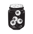 human eyeballs in glass jar isolated sticker vector image vector image