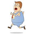 Jogging fat man vector image vector image