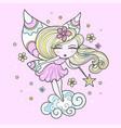 little cute fairy with a magic wand clipar vector image