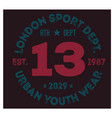 london sport t-shirt design vector image vector image