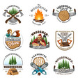 lumberjack logo emblems labels set vector image
