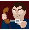 Man aim gun to handset cartoon
