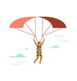 man wearing vr glasses flying parachute guy in vector image