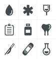 Medical icons set of health and medicine vector image vector image