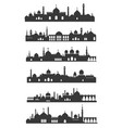 muslim cityscape black set urban arabian landmark vector image