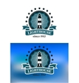 Nautical emblem with a lighthouse vector image