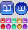 Open book icon sign A set of twelve vintage vector image vector image