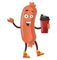 sausage with thermos on white background vector image vector image