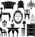 Set of antique furniture - isolated black silhouet vector image vector image