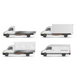 set of realistic white cargo vehicles vector image vector image