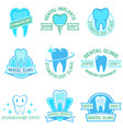 set of stomatology labels color isolated on white vector image