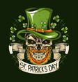 st patrick39s day skull wears a hat vector image