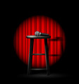 stand up comedy show - microphone and stool in vector image vector image