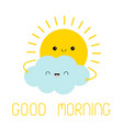 sun and cloud friend icon good morning cute vector image