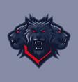 three headed wolf mascot logo vector image