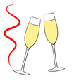 two glasses with champagne red vector image