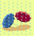 two umbrella in the rain vector image