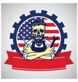 usa labor day skull worker logo united states flag vector image