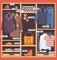 wardrobe room full of mans cloths flat style vector image