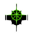wind rose sign green 3d icon with black vector image vector image