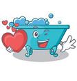with heart bathtub character cartoon style vector image vector image