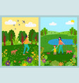 women going with dogs walking in park vector image vector image