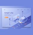 written smart city isometric vector image vector image