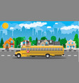 yellow long classic school bus in city vector image vector image
