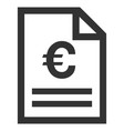 euro invoice page flat icon vector image
