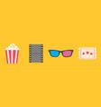 3d glasses ticket popcorn film movie cinema icon vector image vector image