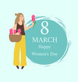 8 march spring holiday congrats happy female vector image vector image
