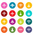airplane top view icons set colorful circles vector image vector image