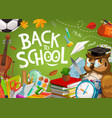 back to school owl and student education supplies vector image vector image
