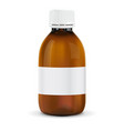 brown plastic bottle with blank paper tag vector image vector image