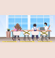 businesspeople sitting at round table keeping vector image vector image