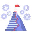 career ladder to success flag on mountain peak vector image