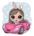 cartoon girl with rabbit ears goes on a pink car vector image