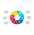 cirle infographic with 6 options or steps vector image vector image