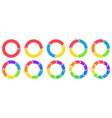 Colorful circle arrow charts multicolor spinning