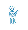 country guitar player linear icon concept country vector image