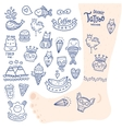 cute cartoon hand drawn doodle tattoo set vector image vector image